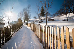 Narrow road covered by snow at countryside. Winter landscape with snowed trees, road and wooden fence. Cold winter day at village Stock Photos