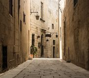 Narrow Road in Mdina Royalty Free Stock Photo
