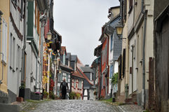 Narrow road with old houses Royalty Free Stock Photos