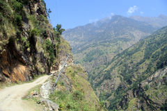 Narrow road. Narrow rocky road in mountain in Nepal Royalty Free Stock Photography