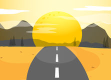 A narrow road and a sunset view Royalty Free Stock Image