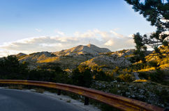 Narrow road to Sv. Jure mountain in Croatia Royalty Free Stock Photo