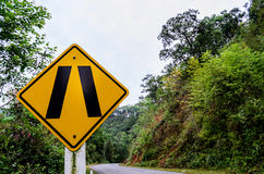 Narrow Road Traffic Sign royalty free stock photo