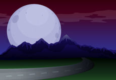 A narrow road under a full moon Royalty Free Stock Photos