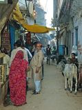 Narrow road at Varanasi. Varanasi, also known as Benares, is a city situated on the banks of the River Ganges in the Indian state of Uttar Pradesh. Varanasi is a Stock Photo