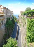 Narrow  roads in Sorrento, Italy. Narrow roads of south Italian town Sorrento Royalty Free Stock Photography