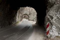 Narrow route and small tunnel - Golubac, Serbia. Royalty Free Stock Image