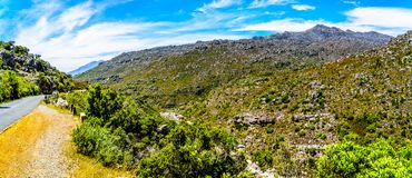 The narrow and scenic Bainskloof Pass through the Witte River or Witrivier Canyon between the towns Ceres and Wellington. In the Western Cape province in South royalty free stock photos