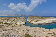 Narrow sea channel, Milos Stock Photos