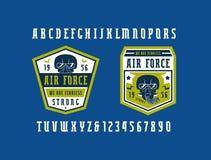 Narrow serif font and air force emblems Stock Photos