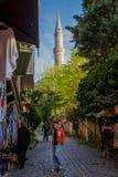 Narrow shopping street near Hagia Sophia royalty free stock image