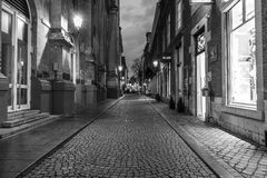 The narrow shopping streets in the historic center. Stock Photos
