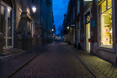 The narrow shopping streets in the historic center. Stock Photo