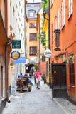 Narrow side street in Gamla Stan Royalty Free Stock Image