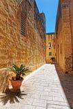 Narrow silent street in Mdina. Malta Royalty Free Stock Image