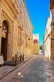 Narrow silent street at Mdina old town. Malta Royalty Free Stock Photos