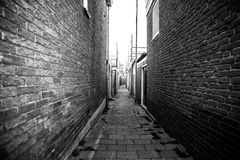 Narrow small empty streets of Amsterdam Stock Images