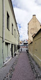 Narrow small street of the old city in Vilnius Royalty Free Stock Photo