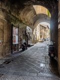 Narrow small streets in the old Etruscan city of Orvieto in Umbr Stock Image