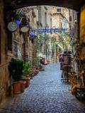 Narrow small streets in the old Etruscan city of Orvieto in Umbr Stock Images