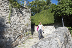 Narrow stairs towards Spiez castle, Switzerland royalty free stock images