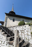 Narrow stairs towards Spiez castle, Switzerland royalty free stock image
