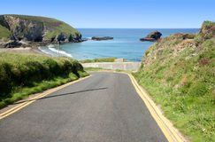 Narrow steep road to Portreath Stock Photo