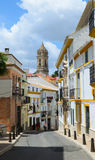 Narrow steep street in the ancient Cordoba Royalty Free Stock Photography