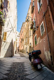 Narrow steep streets of Cagliari, Sardinia Royalty Free Stock Images