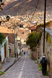 Narrow steep streets in Cusco, Peru Royalty Free Stock Image