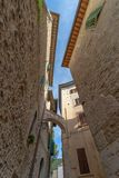 Narrow steet in the historic center of Spoleto in the province o royalty free stock photo