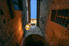 Narrow steet in the historic center of Spoleto in the province o royalty free stock photos