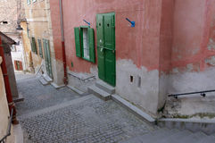 Narrow steps in sibiu Stock Photos