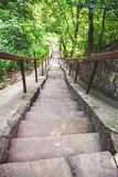 Narrow stone staircase in summer park. Beautiful long narrow stone staircase with wooden handrail in summer park stock photo