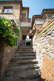 The narrow stone staircase on the waterfront in Sozopol Stock Photo