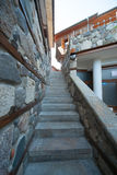 The narrow stone staircase on the waterfront in Sozopol in Bulgaria Stock Photo
