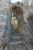Narrow stone stairs and arch to Mirabella castle Croatia Stock Images