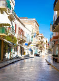 Street and buildings in Syros island. Narrow stone street and buildings in Syros island. Greece Royalty Free Stock Images