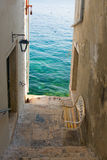 Narrow stone street of Rovinj, Croatia Stock Photos
