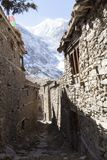 Narrow stone street in small village Manang, Nepal, Annapurna Circle stock photo