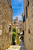 Narrow stone street in Town of Hvar Stock Image