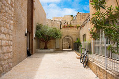 Narrow stone streets of ancient Jerusalem Royalty Free Stock Images