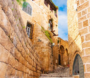 Narrow stone streets of ancient Tel Aviv Stock Photo