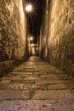 Narrow Stone Walkway in Night time Stock Image