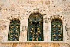 Narrow stone windows of ancient Tel Aviv Stock Photography