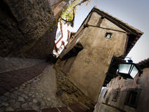 Narrow street in Albarracin stock image