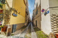 Narrow street in Alghero old town Royalty Free Stock Photography