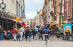Narrow street of Amsterdam Royalty Free Stock Photo