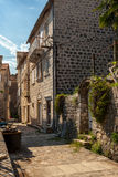Narrow street of ancient city Perast, Montenegro Royalty Free Stock Photos