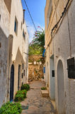 Narrow street of ancient Medina, Hammamet, Tunisia, Mediterranea Stock Photos